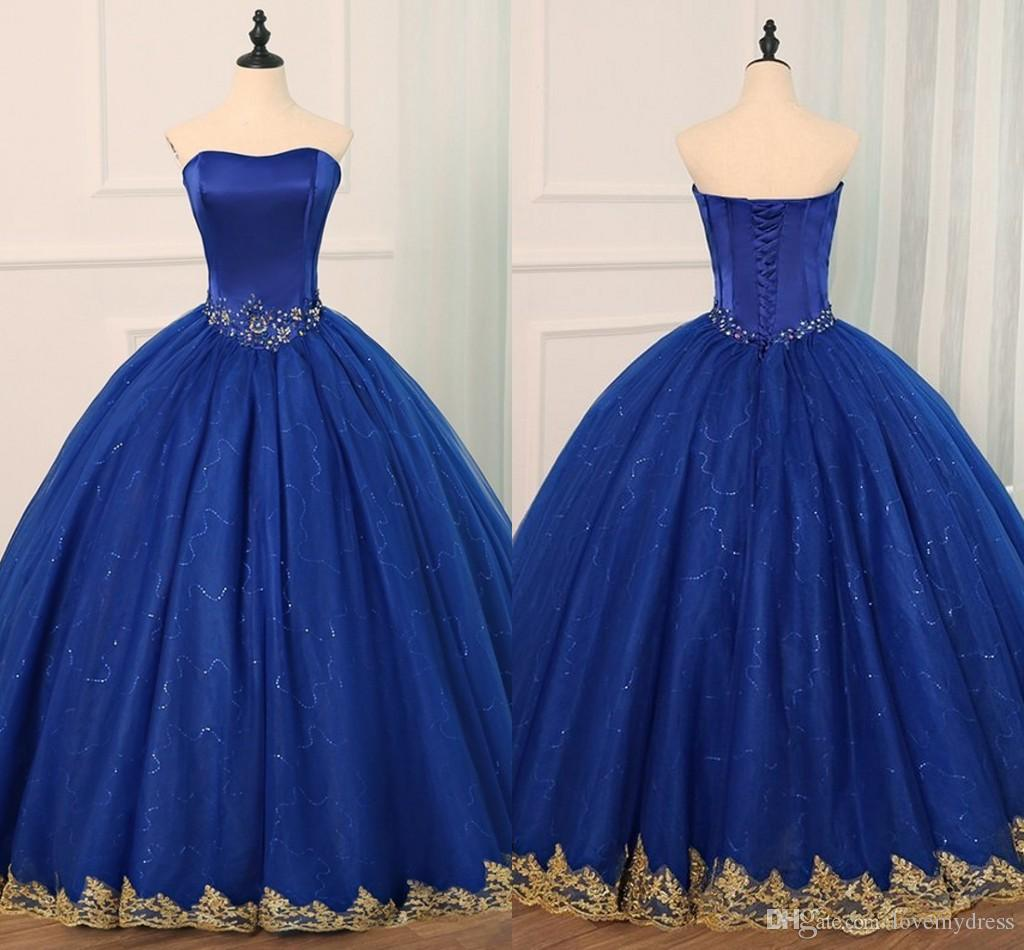 Royal Blue Sequined Tulle Quinceanera Dresses Gold Applique Crystal Sweetheart Lace-up Ball Gown Sweet 16 Dress Prom Gowns Graduation