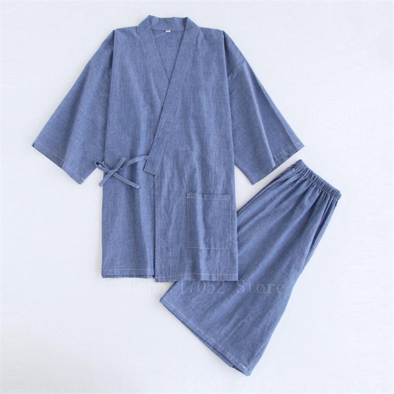 Traje Samurai japonés kimono pijamas de algodón de los hombres Albornoz Haori Yukata Jinbei ropa de dormir conjunto de la manga corta mujer ropa de Japón