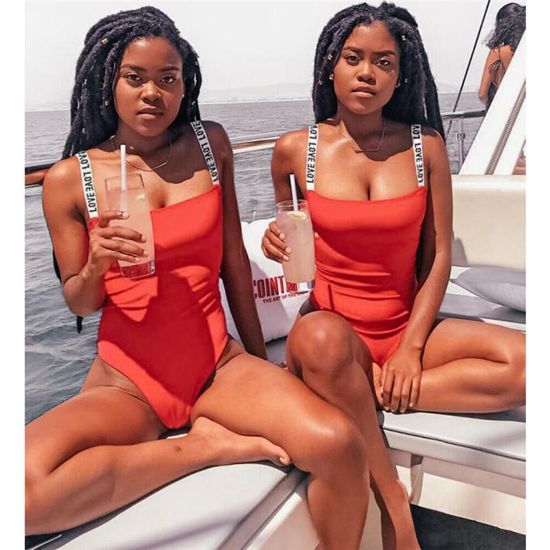 Frauen Art und Weise New Badeanzug 2020 Damen Sling Swimwear Stretch Leotard Ärmel Bademode Sexy One Piece Bikini