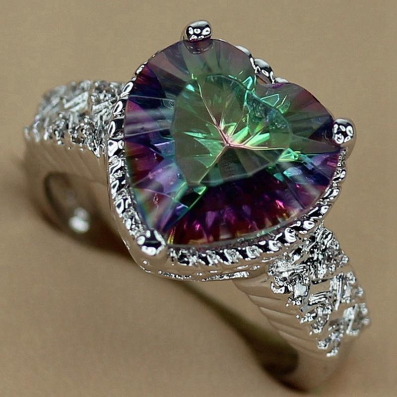 SHUNXUNZE восторженные отзывы Богемия обручальные кольца для мужчин и женщин Радуга кубический цирконий аксессуары родиевое покрытие R768 размер 7 8 9