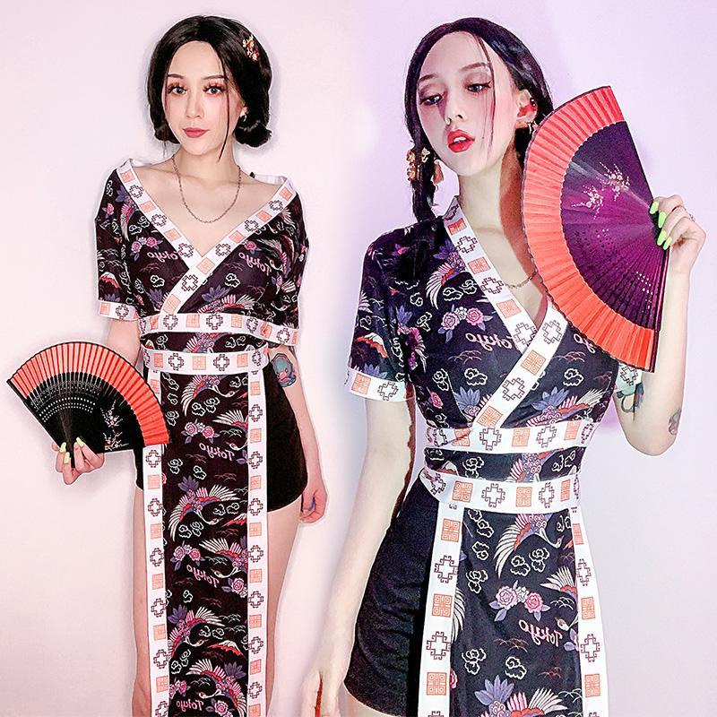 Nouveau Jazz Danse Scène Vêtements de Vêtement DJ Discothèque Tenue De Danse Sexy Soutien-Gorge Hip Hop Vêtements Kimono Cosplay Costumes DWY2029