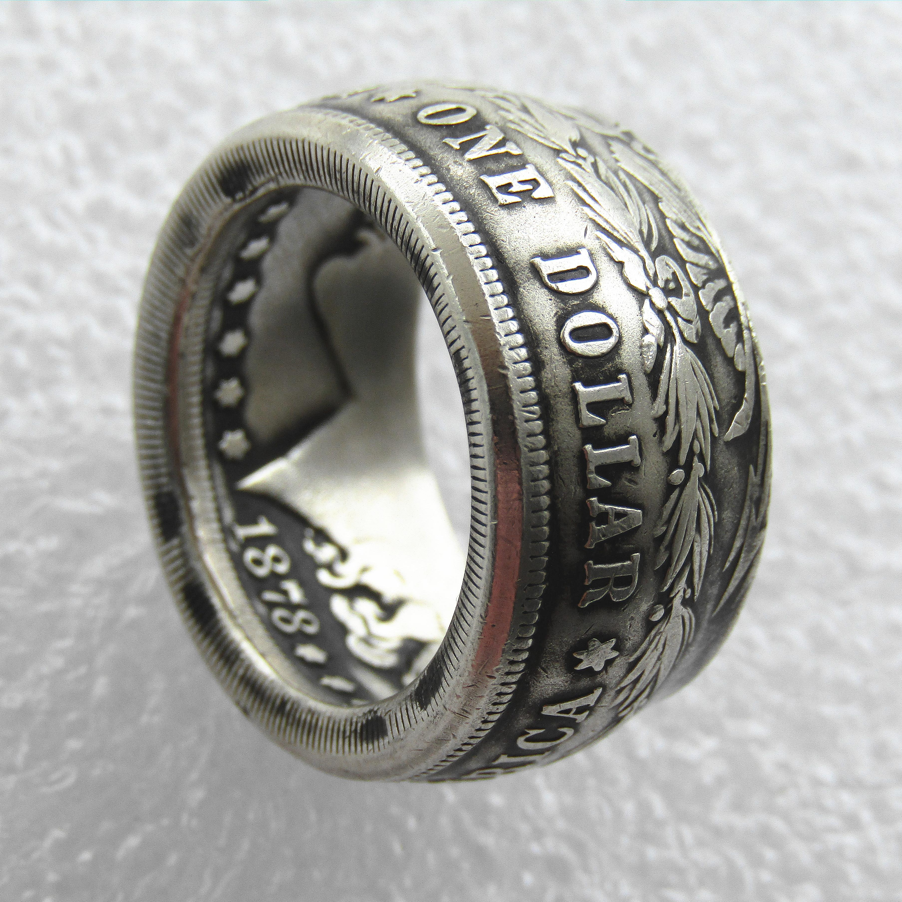Hot Selling Silver Plated Morgan Silver Dollar Coin Ring 'Heads' Handmade In Sizes 8-16 high quality