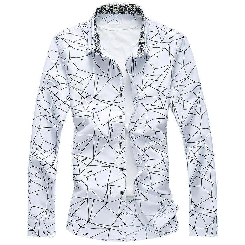 تصميم جديد ربيع الرجال القميص عالية الجودة الكلاسيكية الرسمية هندسية منقوش كم طويل قمصان الرجال زائد الحجم 7XL