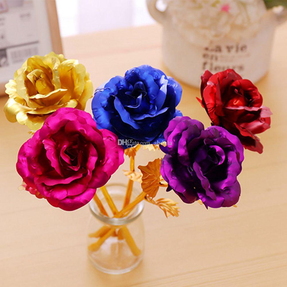 20pcs 24K Golden Rose Valentinstag 24k Goldfolie überzogene Rose kreative Geschenke Lasts Forever Rose für Liebhaber Hochzeit Weihnachten Geschenke