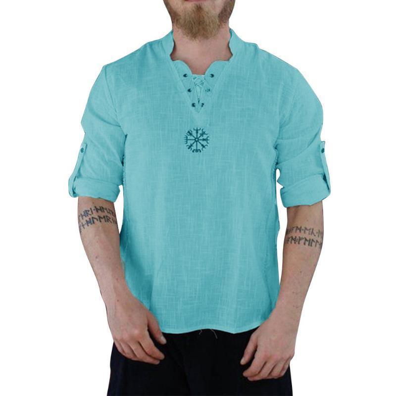 Blusa ocasional del verano 2020 para hombre delgadas del color sólido camisas nueva primavera de los hombres de algodón de manga larga de lino Camisas Hombre Blosues # Y4
