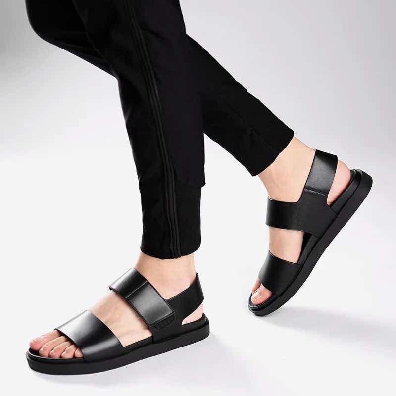 Echtes Leder-SANDALEN-Qualitäts-Pantoffel-Entwerfer-Dia-Sommer-Art- und Weiseflacher Pantoffel breiter Mund geben Verschiffen 38-45 Z281 frei