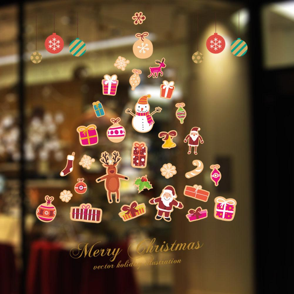 Окно наклейки Мини Рождество Декор стены наклейки Санта-Клаус снеговика Quote Декаль Window стены наклейки Art Christmas Decor Виниловые