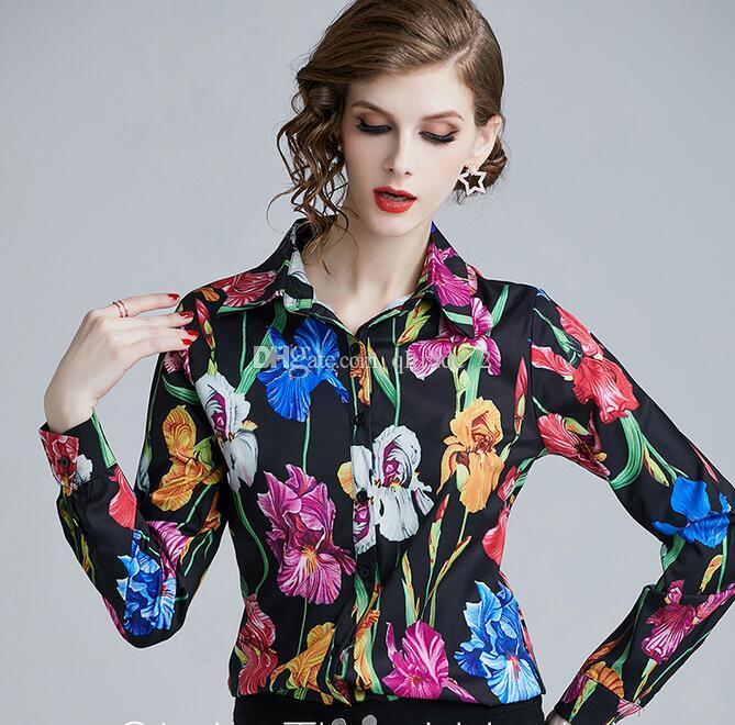 Floral preto Estampa de Manga Longa blusas OL estilo camisas primavera moda Botão Detalhe senhoras blusas de lapela pescoço mulheres camisas