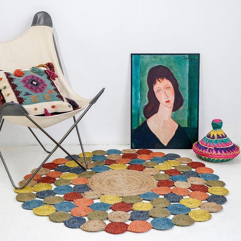 Tapis de sol naturel à la main Jute, tapis de jute décoration, grande taille tapis cercles rond en forme