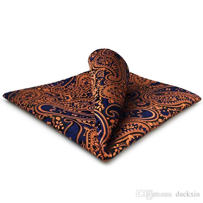 PH18 페이즐리 레드 오렌지 블루 블랙 포켓 스퀘어 남성 넥타이 자카드 직물을 OrangeRed에