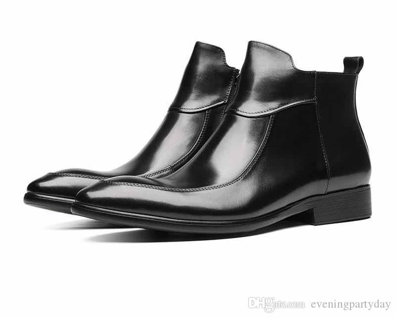 Nueva Negro / Castaño punta estrecha botas para hombre vestido de botas de cuero genuino zapatos de boda de las botas del tobillo masculinos
