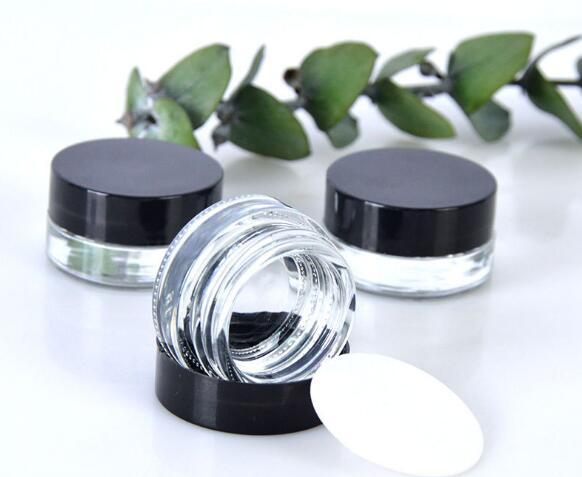 Clear Eye Creme Jar 3g 5g leeres Glas Lippen Container Wide Mouth Cosmetic Probenbehälter mit starken unteren