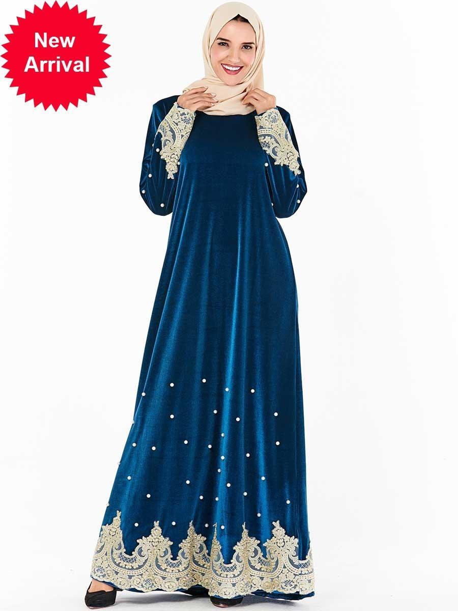 Mc209267 Büyük Beden Bayan İşlemeli Boncuklu Casual Uzun (hayır Türban) Robe musulmane Müslüman Elbise Giyim Jilbab Pamuk