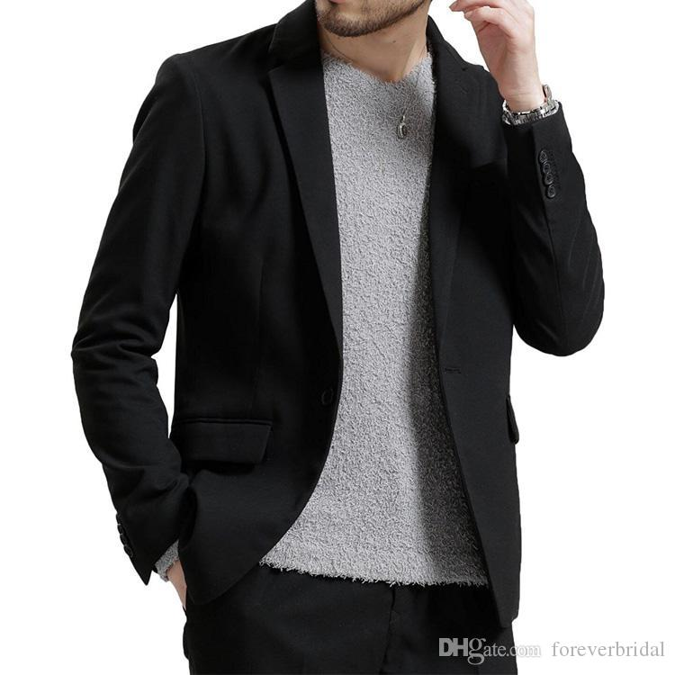2019 New Summer Beach Men Blazer Handsome Casual Young Boys One Button Groom Wear For Wedding Beach Leisure Men Suit Only One Jacket