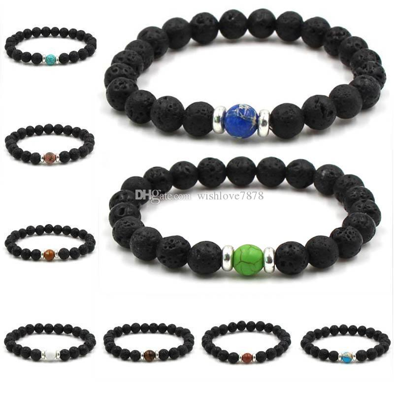 10 Estilo Chakra Bracelet Tiger Eye Oração vulcânica Pedra Homens Pretos Lava Cura Balance Reiki Pedra Natural Yoga Bracelet