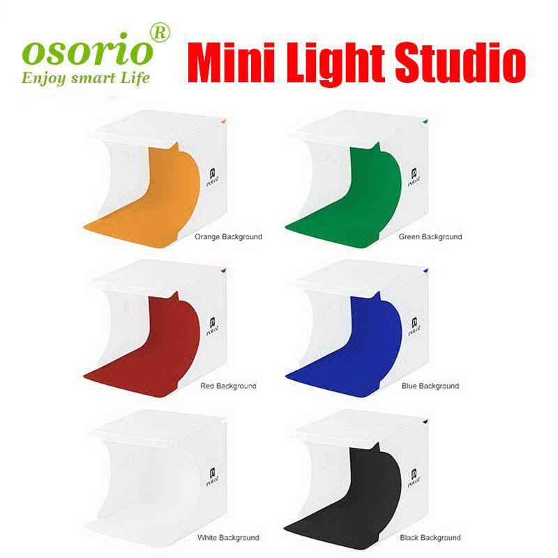 Caixa macia Fotografia Mini Folding Lightbox Photo Studio Softbox LED Light Foto caixa de Kit fundo claro para DSLR Camera