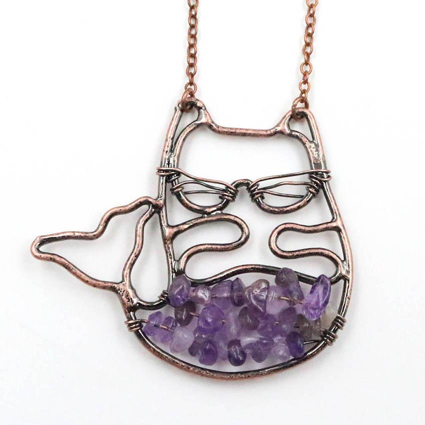 10 Pcs Copper Plated Wire Wrap Cat Shape Amethyst Stone Pendant Link Chain Necklace Black Agate Jewelry