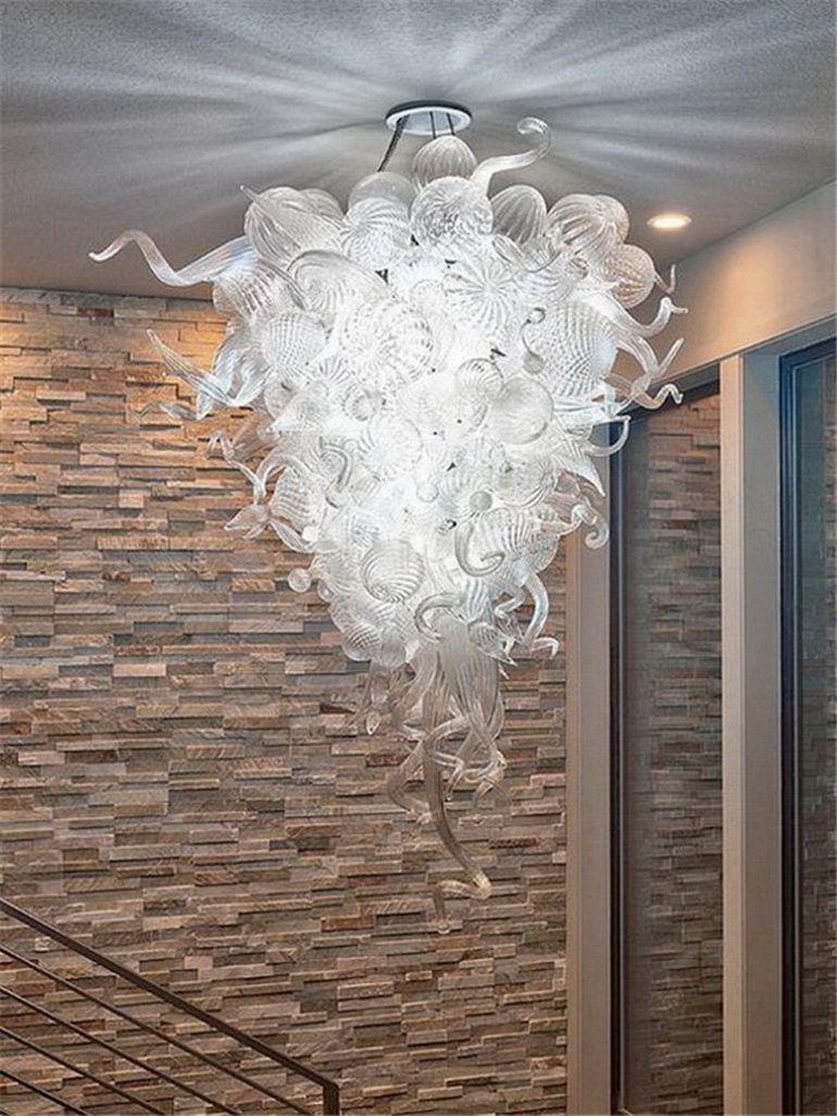 2020 americana europea soplado a mano de lujo Lámpara de cristal del envío del aire del precio al por mayor moderna de vidrio soplado colgante Claro