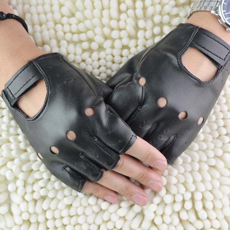 1 زوج للجنسين الأزياء الأسود الرياضة في الهواء الطلق PU قفازات جلدية قفازات أصابع الصلبة القيادة الشرير نصف الإصبع