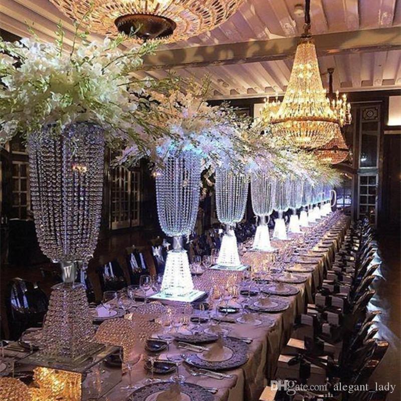 크리스탈 파란색 샹들리에 중심 라이저 최고 촛불 꽃 플레이트 웨딩 장식 T 테이블 장식 중심 11 이벤트