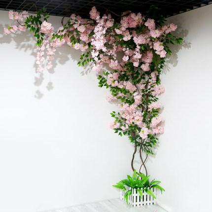 اصطناعية شجرة الكرز ساكورا شجرة الجذعية مع وهمية زهرة الكرز زهرة الكرز المجفف فروع شجرة مجموعات القش لديكور المنزل غرفة المعيشة