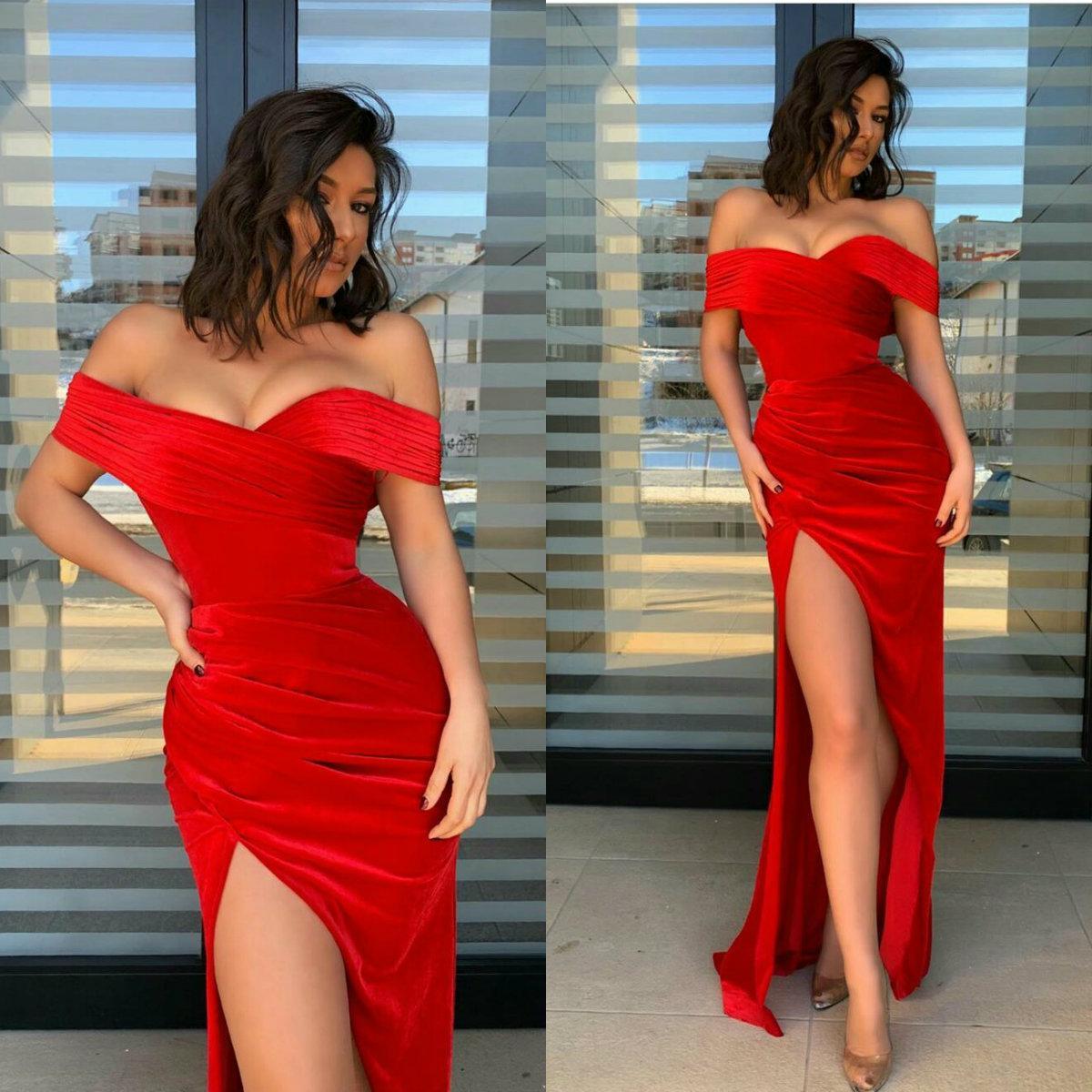 2020 vestidos de baile Elegante fuera del hombro sirena de satén de encaje vestidos de noche por encargo de la alta Dividir barrer de tren vestido de la ocasión especial