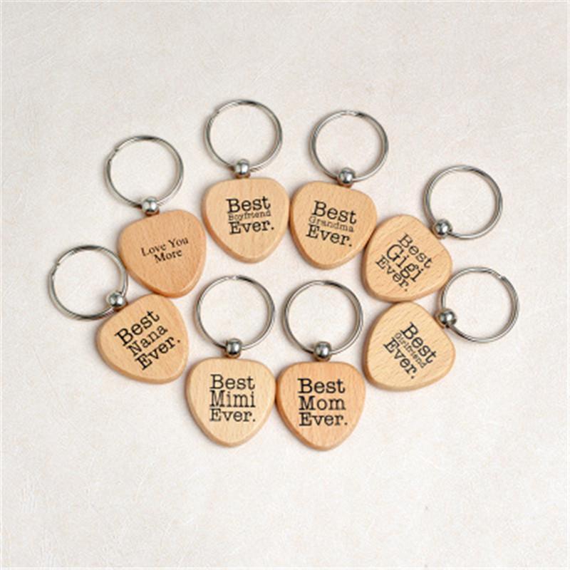 Legno Portachiavi Portachiavi regalo di cuore a forma di chiave Catene regalo carino Portachiavi auto per regalo di compleanno Presents pendenti di fascino