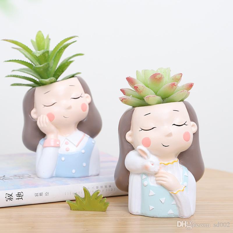Pot couronne de fleur de fille Originalité nouveau produit charnu Plante en pot Lapin Résine Décoration bureau Eco Friendly Plus de couleurs 12 5ltC1
