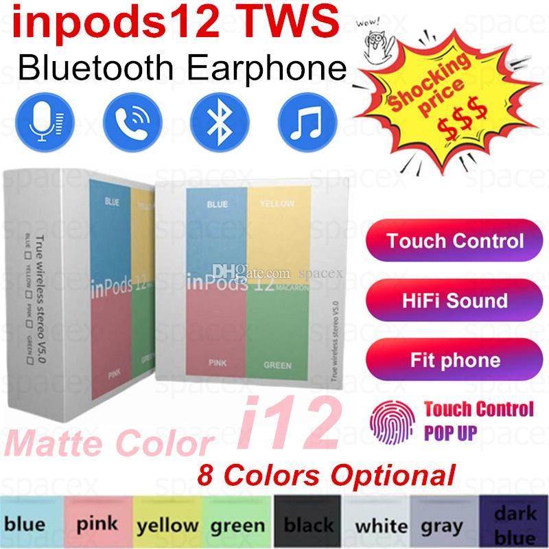 inpods12 Wireless Bluetooth Headphones inpods 12 Macaron V5.0 Stereo Cell phone Earphones Sports inpods 12 Headphone Touch Earbuds With Mic