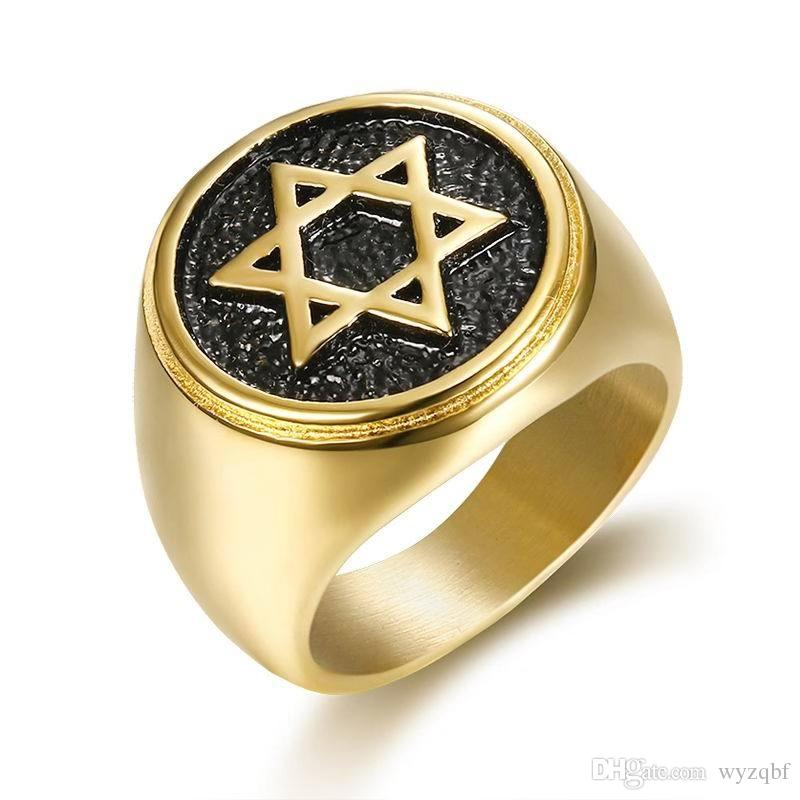 لنا حجم 7-13 الرجال لون الذهب الصبي ماجيك السداسية نجمة داود فضي أسود 316L الفولاذ المقاوم للصدأ حلقة هدايا مجوهرات