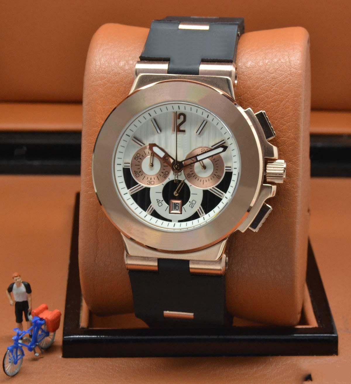 Quartz Chronograph Große Herren-Uhren Edelstahl-Armbanduhr-weißes Zifferblatt Gold-Gehäuse mit schwarzem Kautschukband-Großhandelspreis