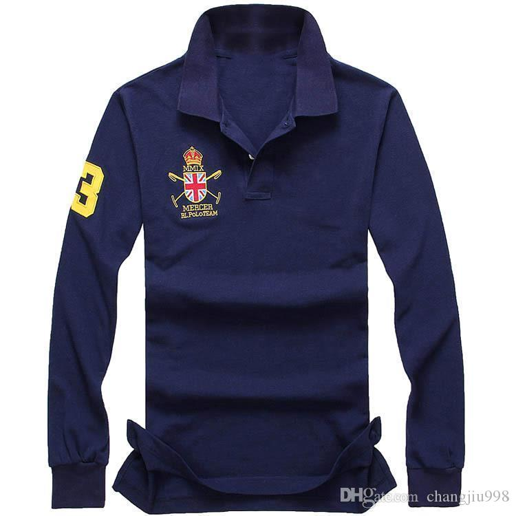 2019 New polo hot sale men Polo Shirt Men Big Horse Solid Long-Sleeve Summer Casual Polo Mens Slim Polos Casual Shirt size M-4XL