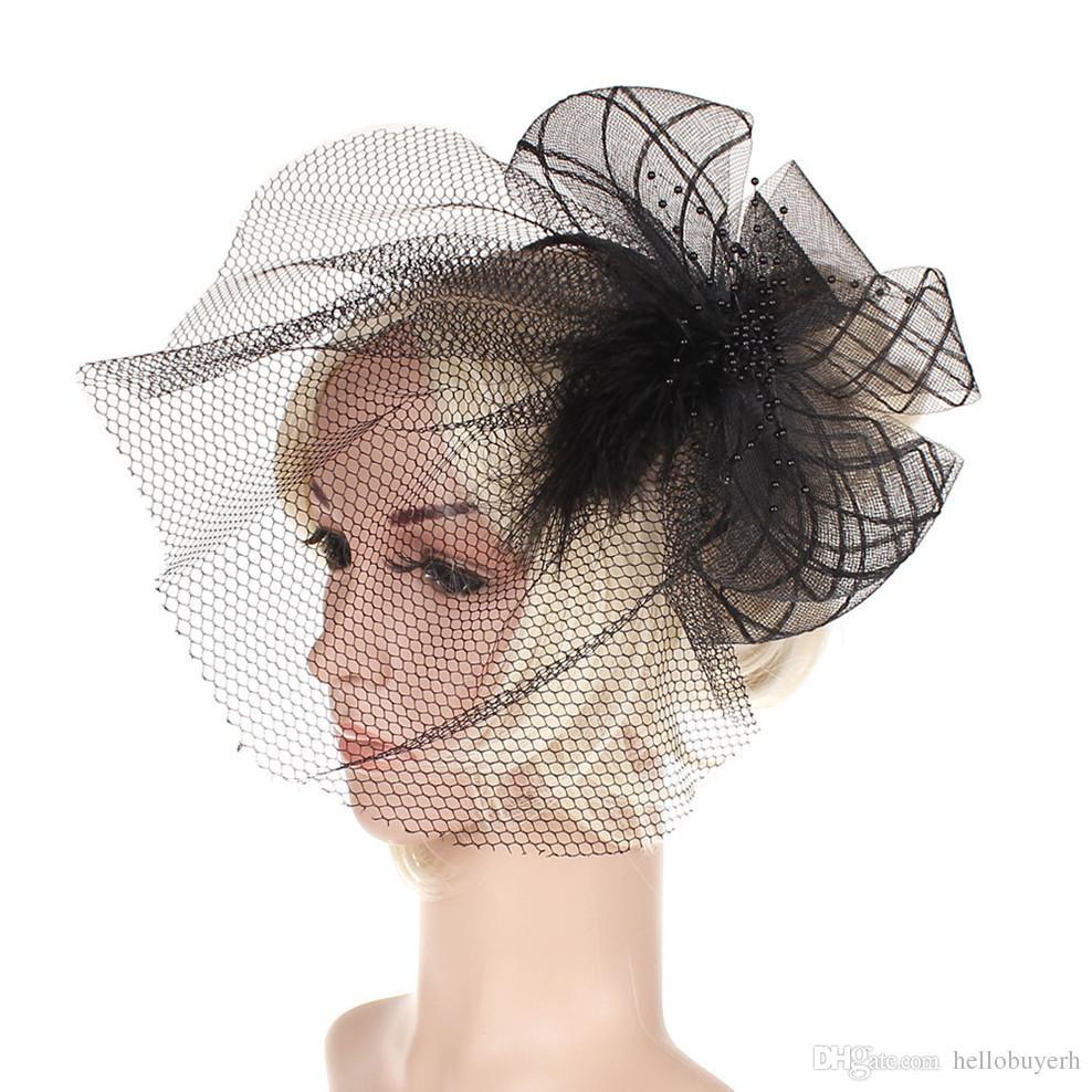 Hot style cambric banquet gaze chapeau coiffe nuptiale coiffe plume pince à cheveux têtes européennes et américaines du parti cheveux accessoires