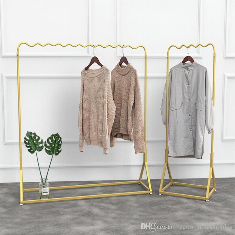 2019 Golden Clothing Display Rack Simple Shop Window Golden Clothing Rack  Ground Show Rack Combination Bedroom Clothes Racks From Meow_householdes,  ...