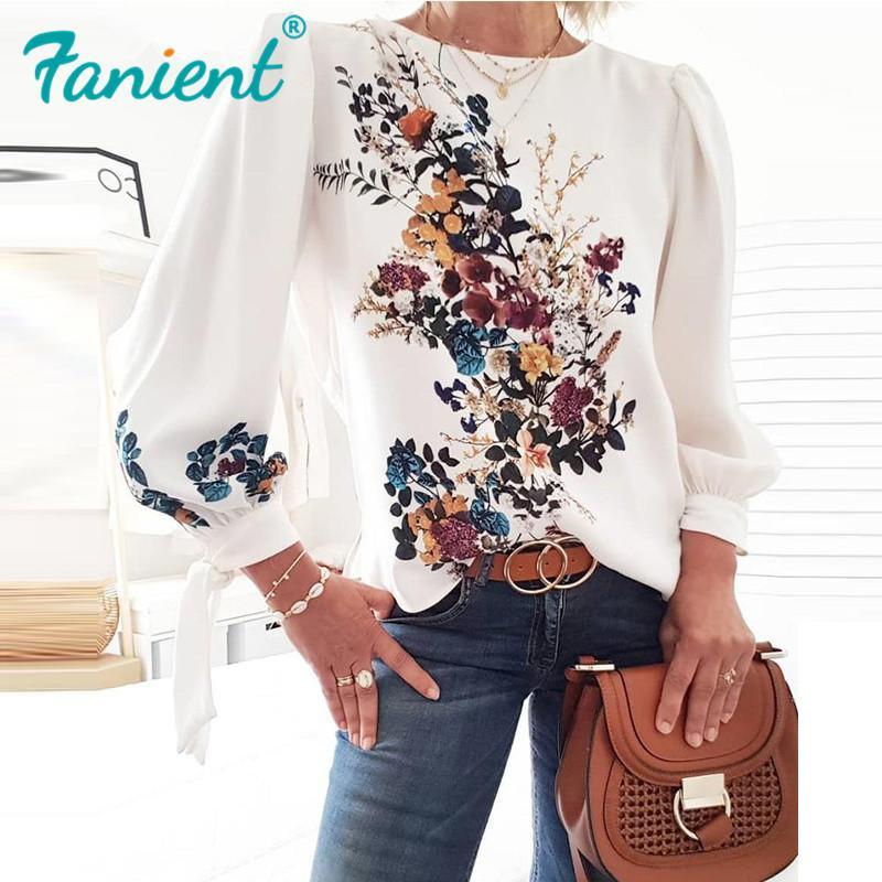 여성 플로라 인쇄 긴 소매 느슨한 스타일 풀오버 블라우스 세련된 캐주얼 봄 가을 패션 새로운 최고 빈티지 여성 블라우스 셔츠