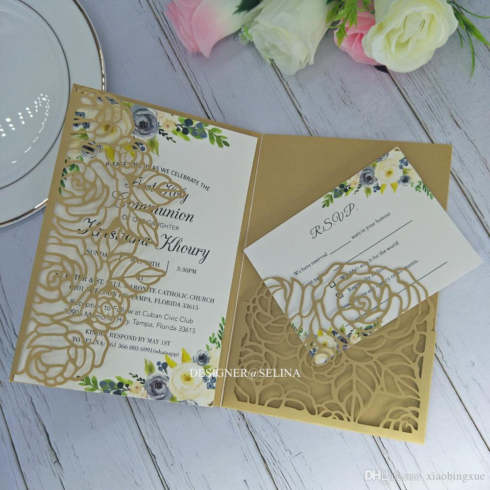 Plum Rose Tri Fold Laser Cut Wedding Invitations Pocket Wedding Invitation  Gold Shimmy Laser Cut Jackets Wedding Invites Die Cut Funny Wedding  Invitation Golden Wedding Invitations From Xiaobingxue, $0.77| DHgate.Com