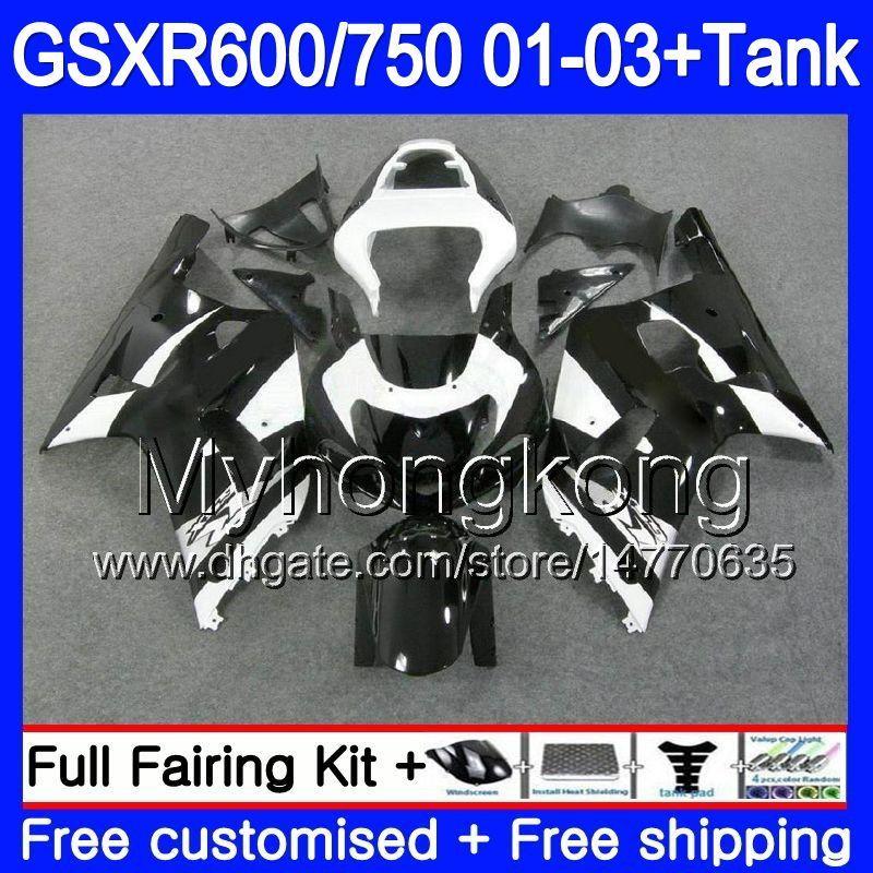 +Tank For SUZUKI GSXR 600 750 GSXR 750 GSXR600 2001 2002 2003 294HM 76 GSX  R750 R600 K1 GSX R600 GSXR750 01 02 03 Black White Hot Fairing Batman