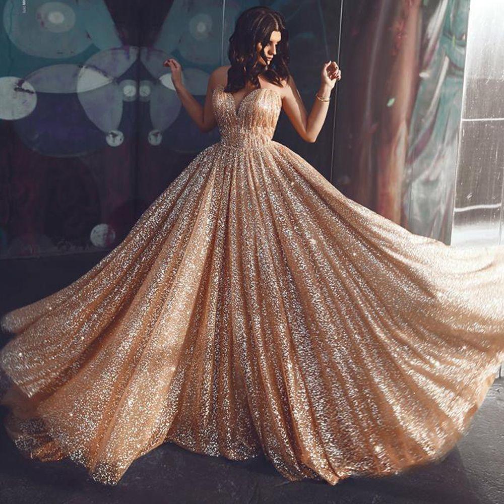 Großhandel Gold Abendkleider 19 Schatzausschnitt Ballkleid Pailletten  Sparkly Bodenlangen Abendkleider Kleider Arabisch Vestidos De Fiesta Von
