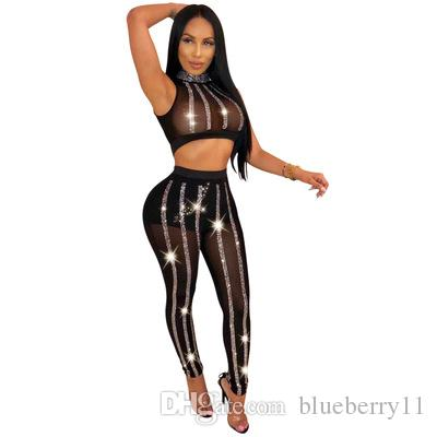 Bonnie Forest Sparkly Crystal Studded Skinny Jumpsuits Rompers Women Stretchy Sequined Mesh Two Piece Pant Set Night Out Outfits