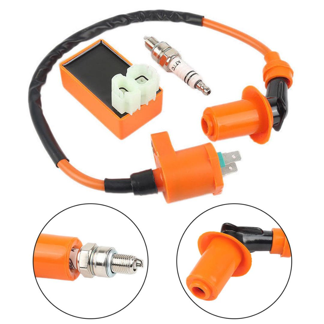 Motorbike Ingition 1 Set Racing CDI + Spark Plug + Ignition Coil Kits For GY6 50/125/150CC 4-stroke Scooter Parts