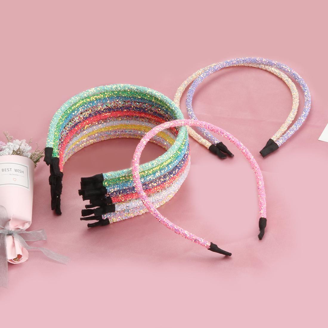 14pcs / vendas de moda de las muchachas del brillo de las lentejuelas partido de los niños Hairbands Bling Bling dulce del pelo de los niños accesorios principales del aro