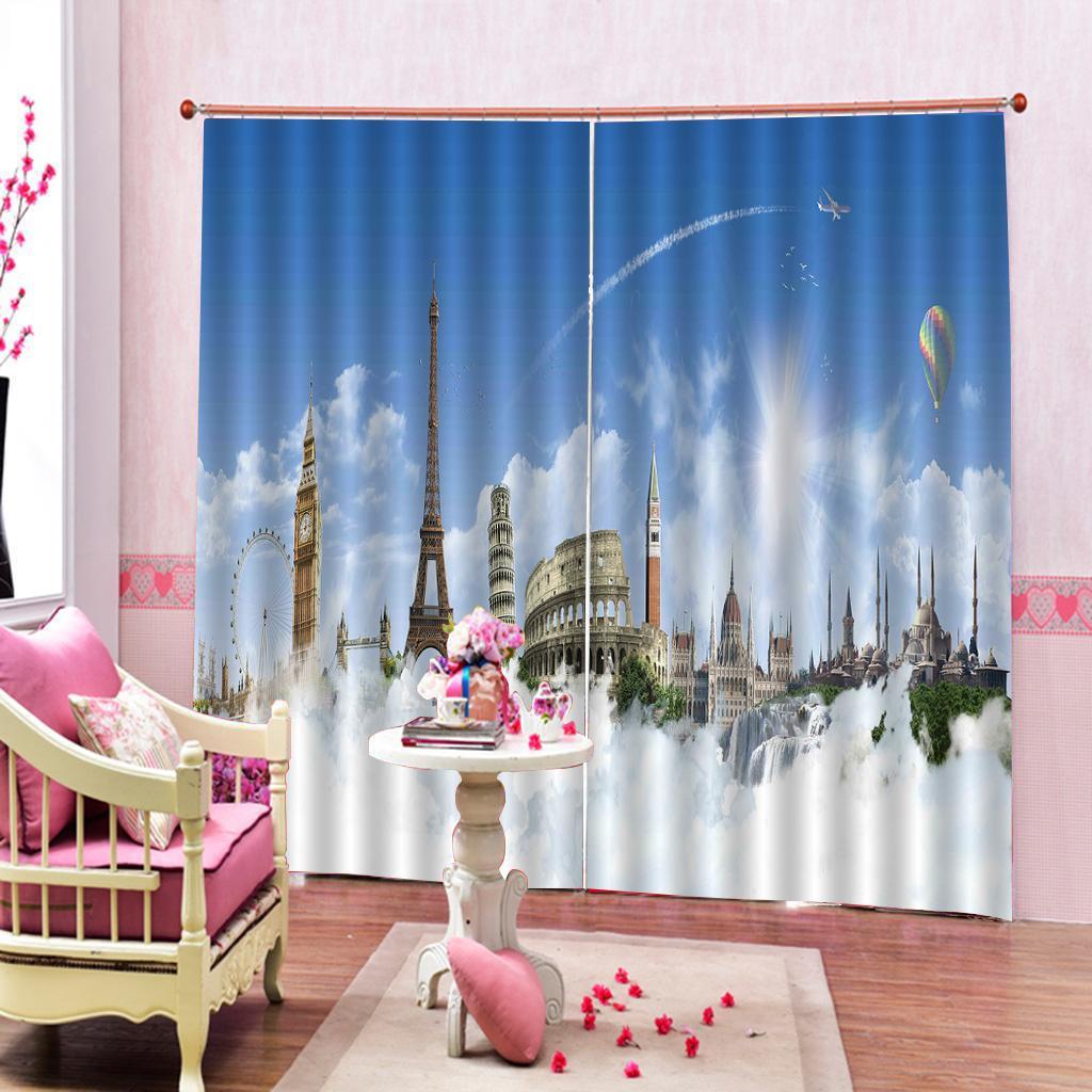 Özel Blue Sky Beyaz Bulutlar Kent Binaları 3D Dijital baskı Pencere Perde İçin Oturma odası Yatak odası Blackout Perdeler Ev Perdeler Dekor