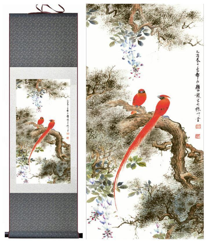 Birds And Flower Art Painting Home Office Decoration Chinese Scroll Painting Flower Art Painting Chinese Painting2019061535