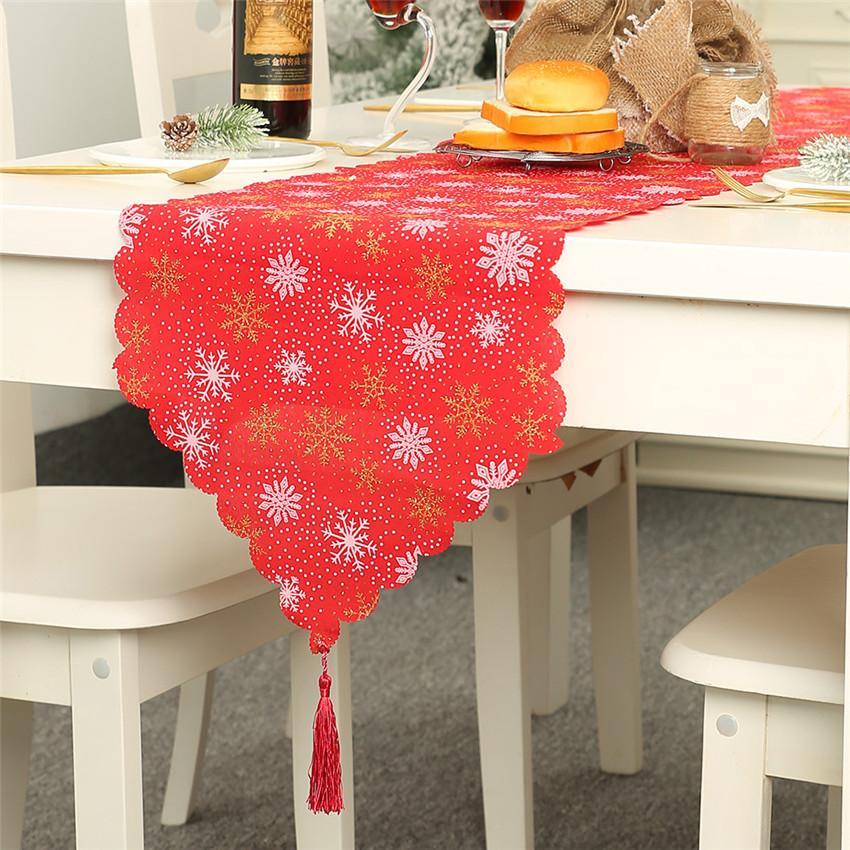 Xmas украшения для дома Таблица Runner рождественские стили мешковины печати Снежинка Elk флаг Таблица украшения Noel Постельное белье