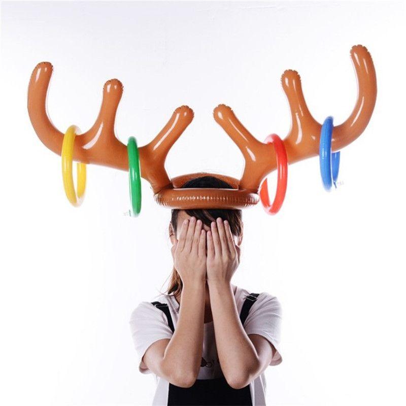 Juguete de Navidad Dropship reno asta de reno de Navidad inflable del partido sacudida del anillo de la asta sombrero juego de los juguetes