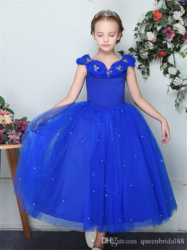Compre 2019 Vestidos Bonitos Para Niñas De Flores Royal Blue Tulle Beaded Long A Line Vestido De Novia Invitado Cremallera Parte Posterior Vestidos De