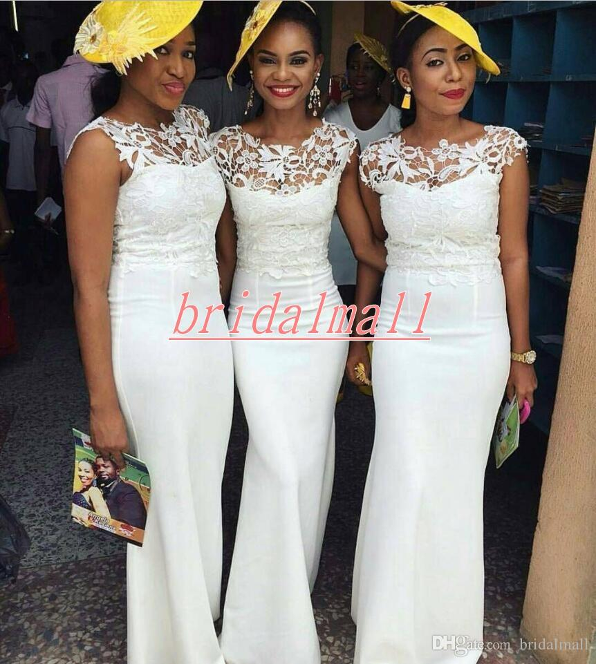 African Mermaid Long Bridesmaid Dresses Lace Top Wedding Guest Party Dress Elastic Satin Nigerian Bridesmaid Dress women Maid Of Honor Gowns