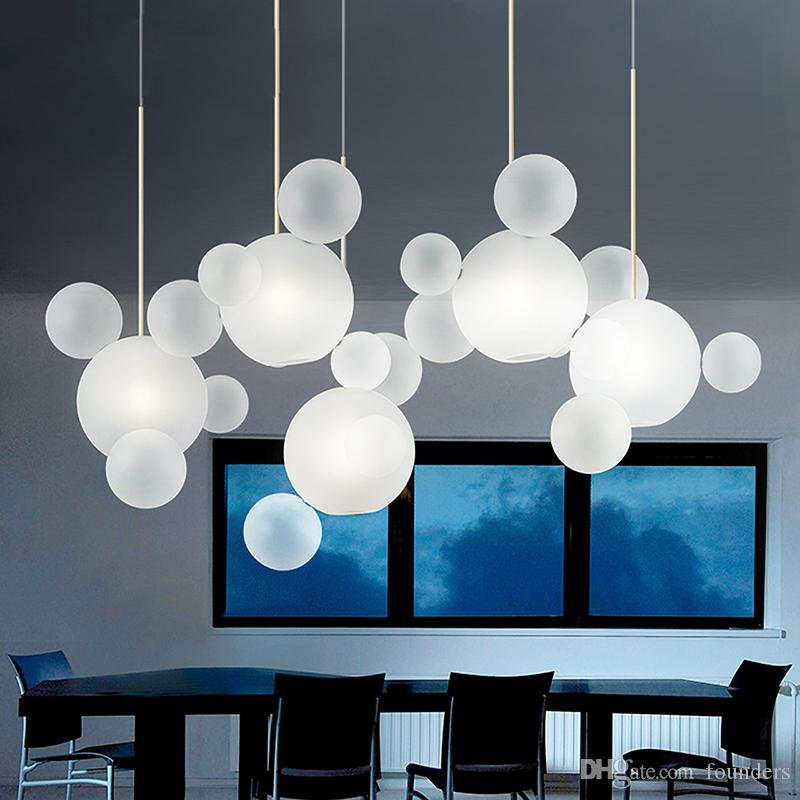 Boule en verre Lustre Creative Soap Bubble Hanglamp Salle à manger Restaurant Chair moderne Luminaria Lustres en verre d'appareils d'éclairage