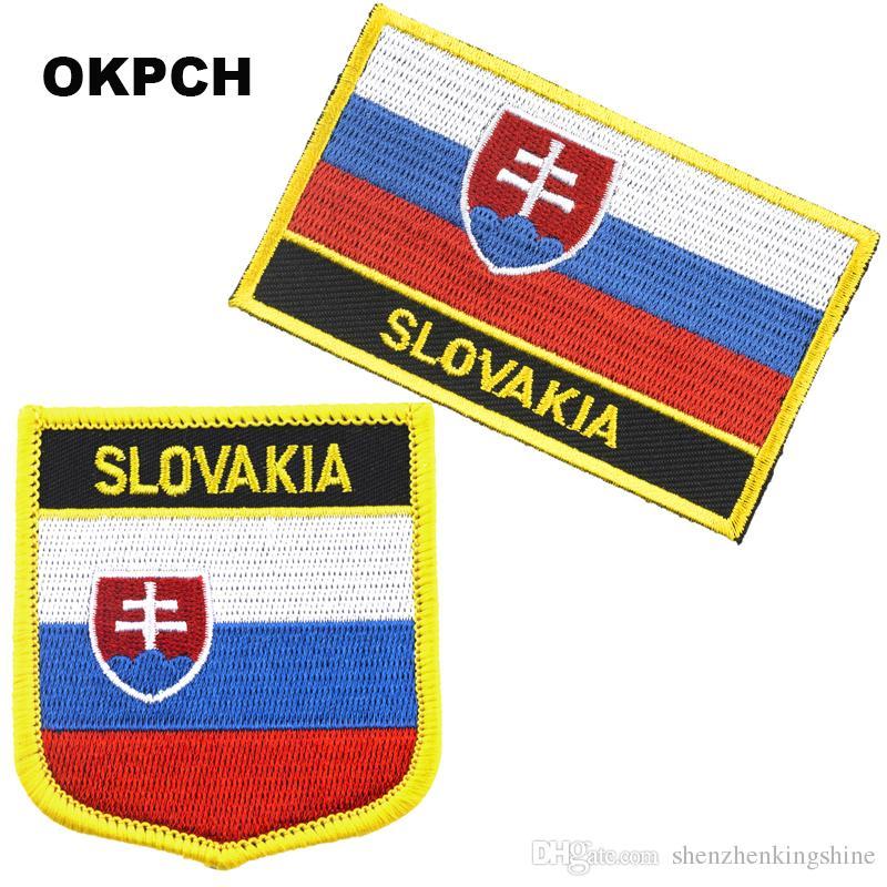 Ferro da ricamo sulla bandiera della Slovacchia con spedizione gratuita sulla patch 2 pezzi per set PT0164-2