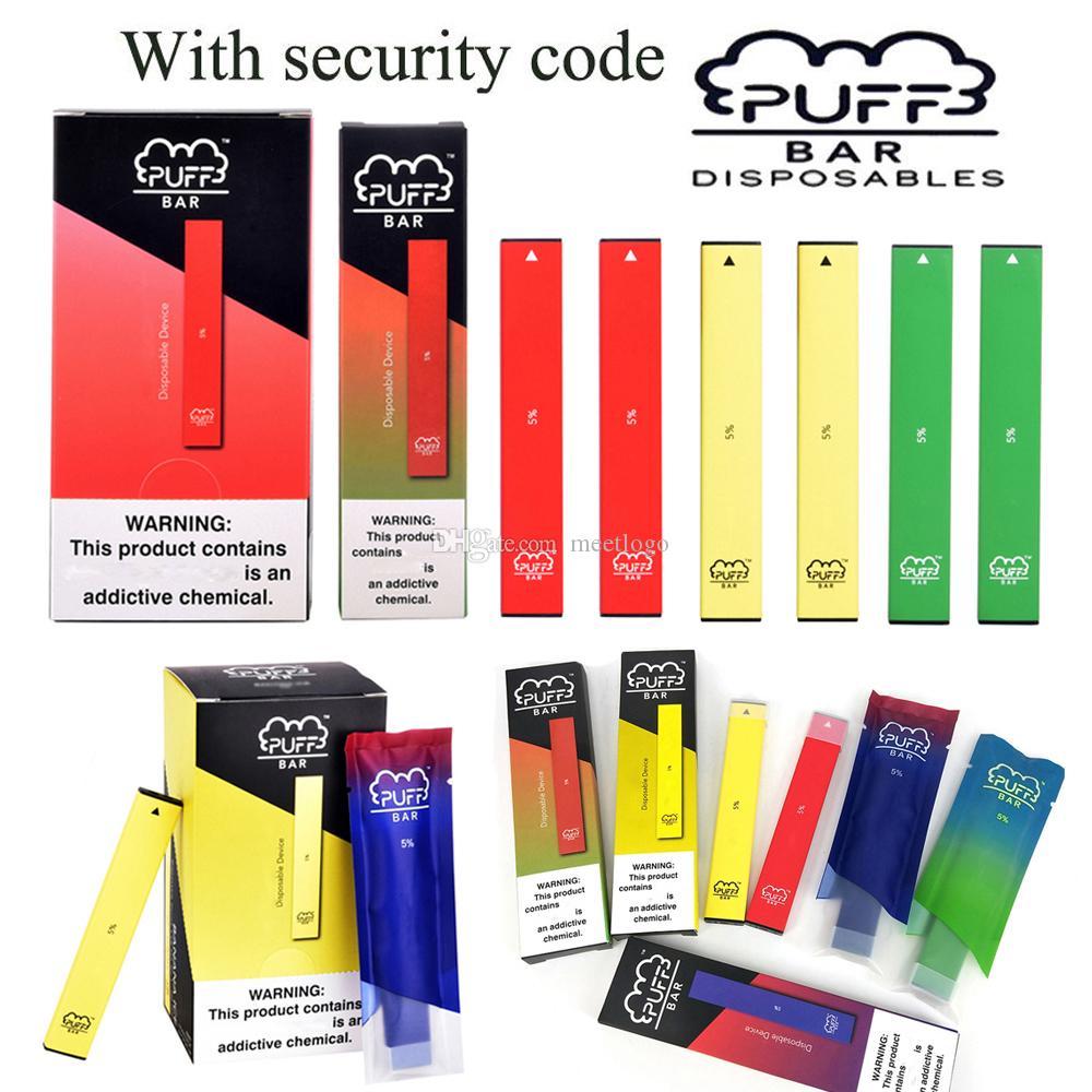 Cartuchos pré-cheia de dispositivos Puff Bar descartável Pods Starter Kits 280mAh Battery 1,3ml Vape Pen PuffBar portátil e cigarros vaporizador Pen